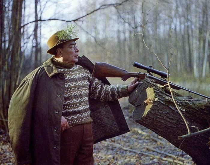 с оружием Брежнев на охоте
